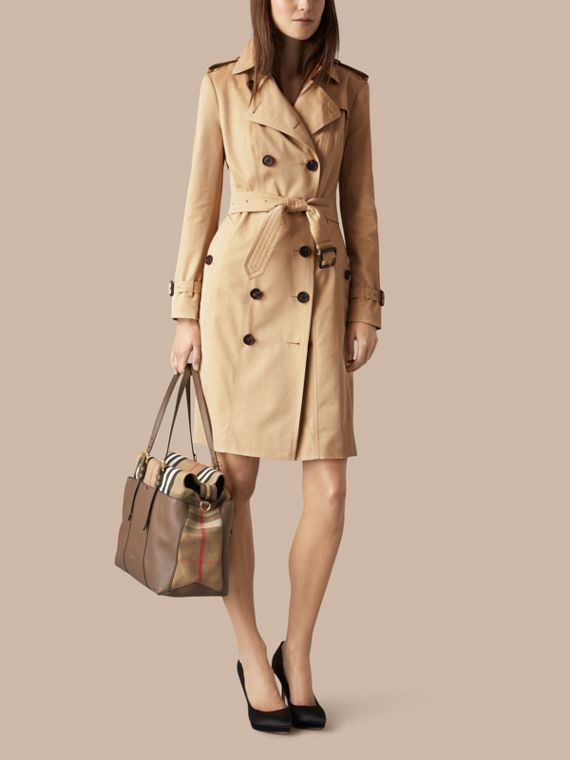 House Check and Leather Baby Changing Bag in Taupe Grey | Burberry - cell image 2