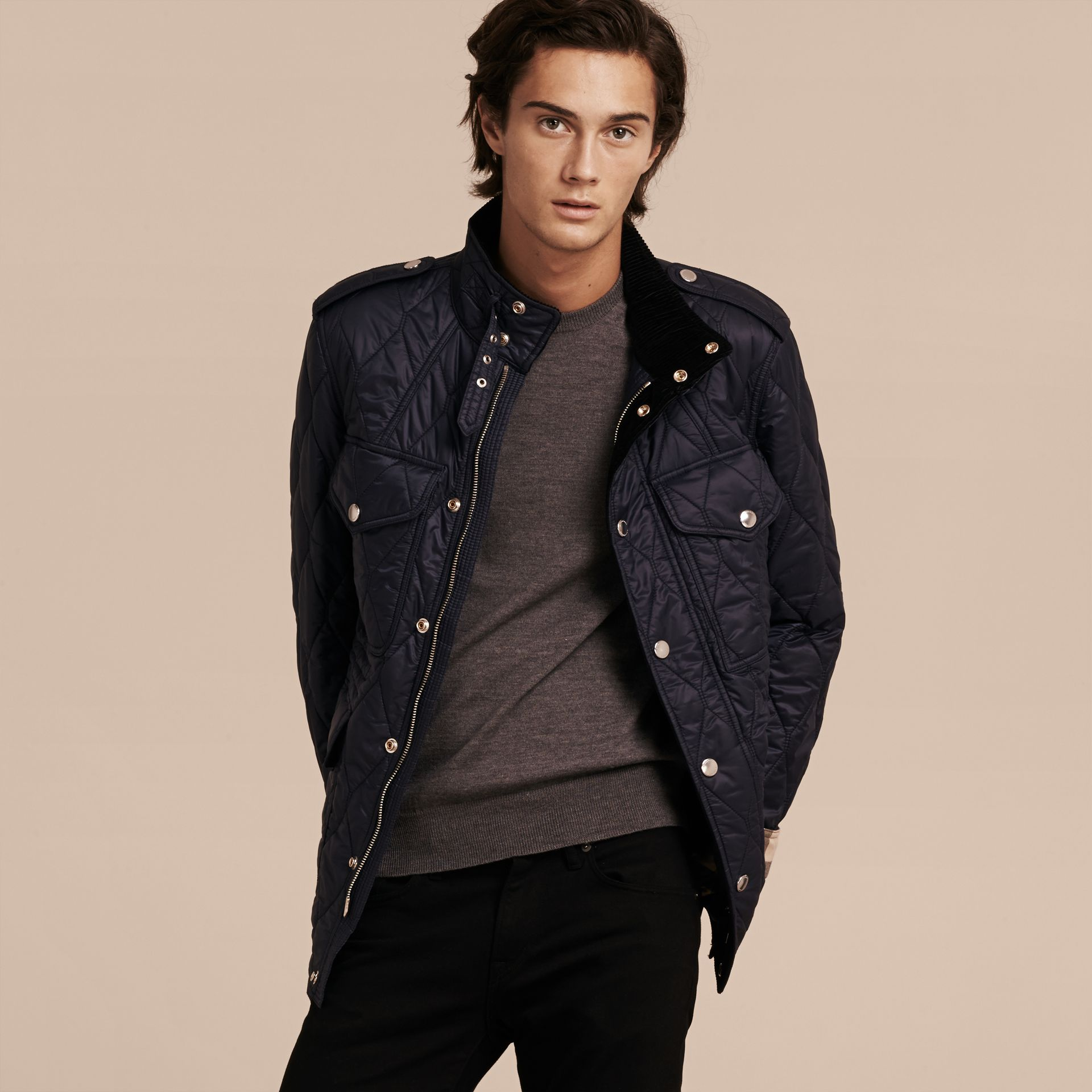 Diamond Quilted Field Jacket in Navy - Men | Burberry - gallery image 7
