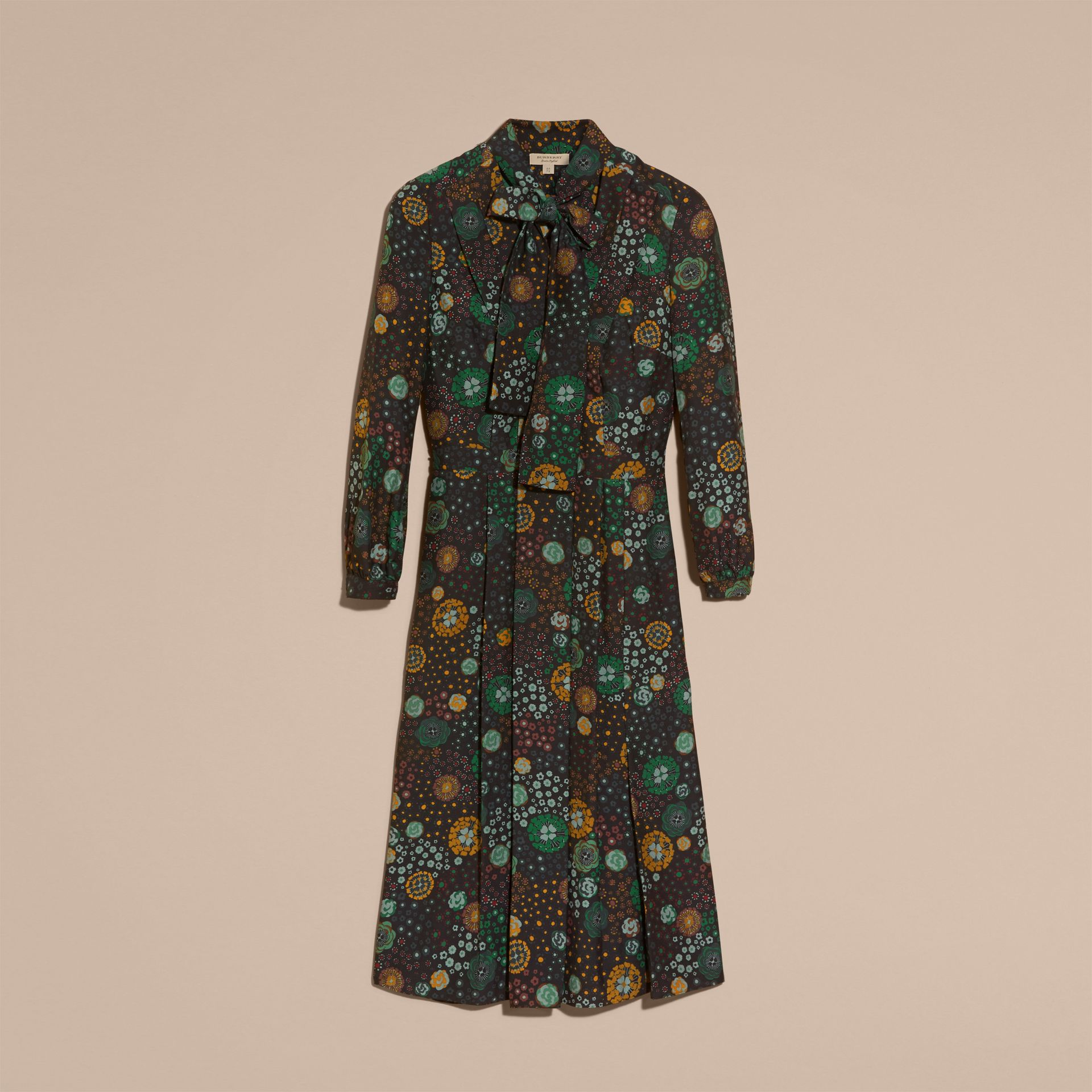 Pigment green Floral Silk Dress - gallery image 4