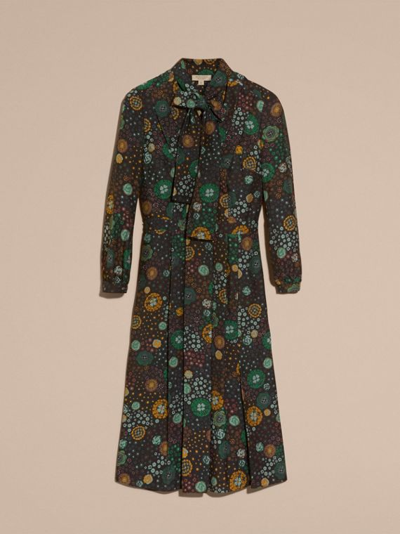 Pigment green Floral Silk Dress - cell image 3