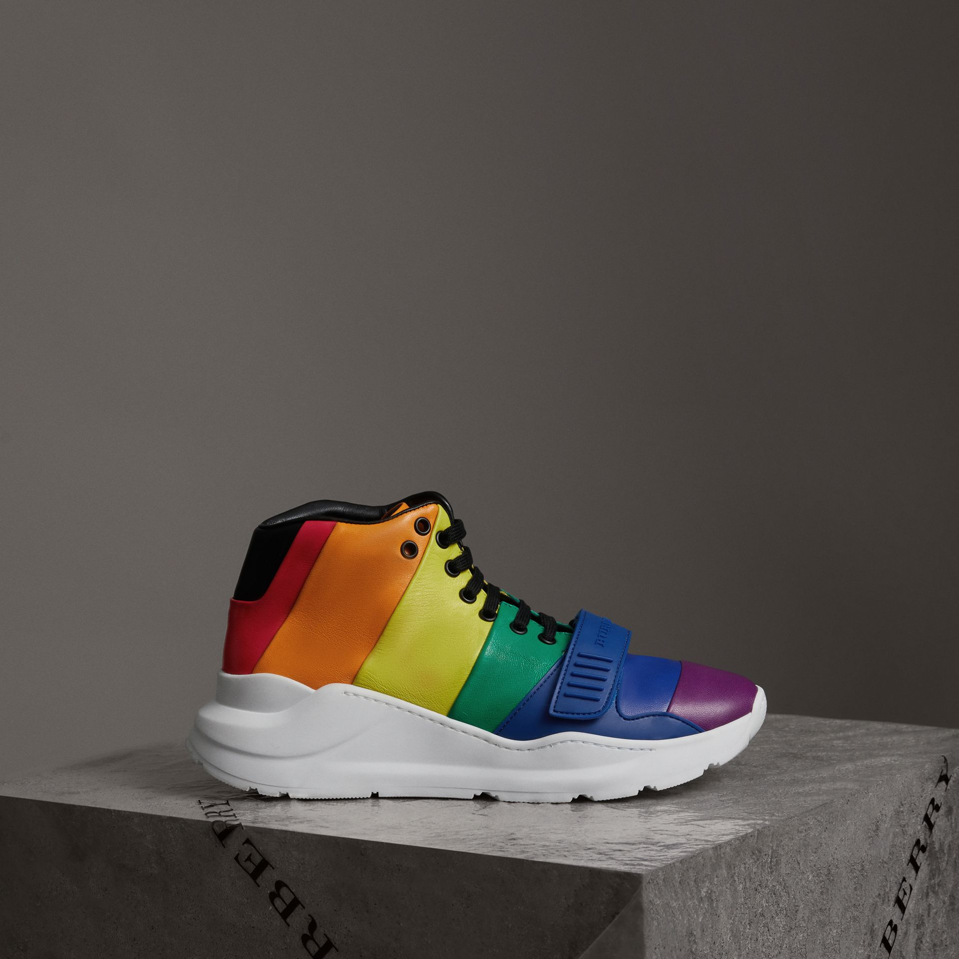 Rainbow Leather High-top Sneakers - Women | Burberry Hong Kong - gallery image 0