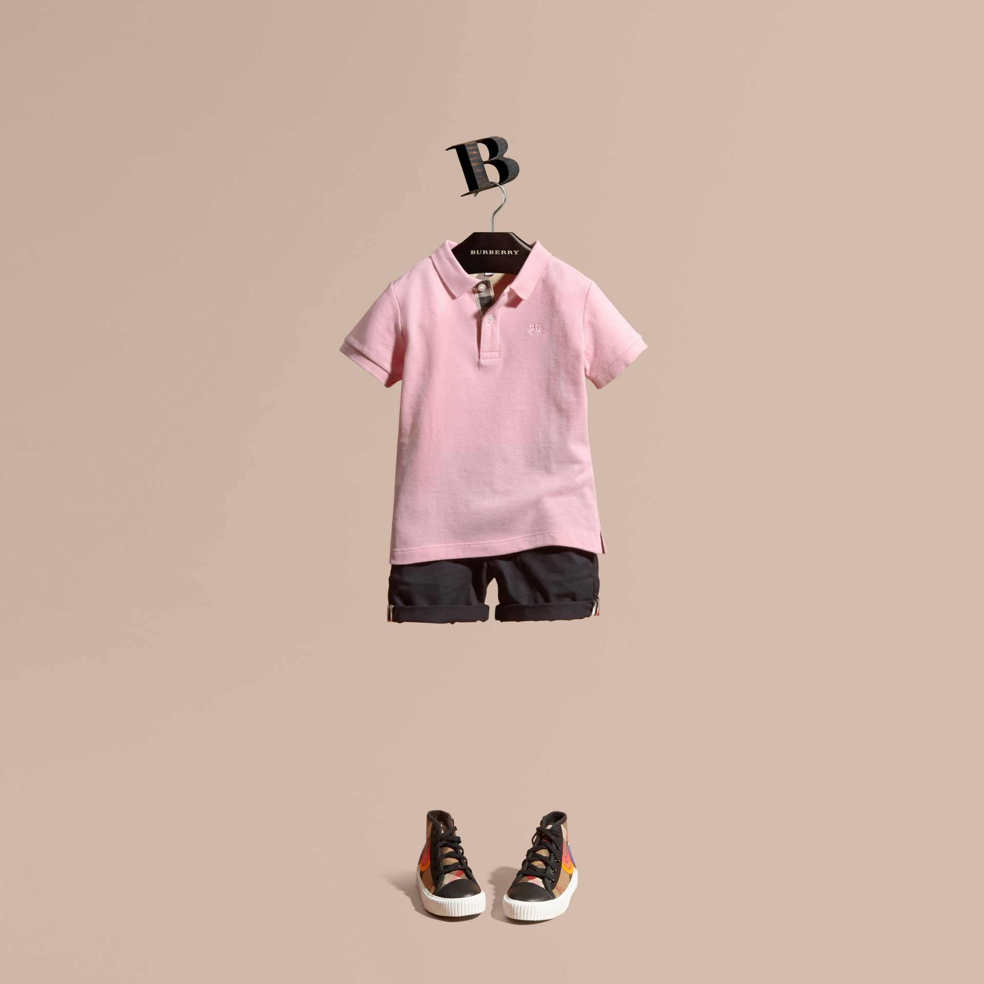 Check Placket Polo Shirt in Light Pink - Boy | Burberry - gallery image 1