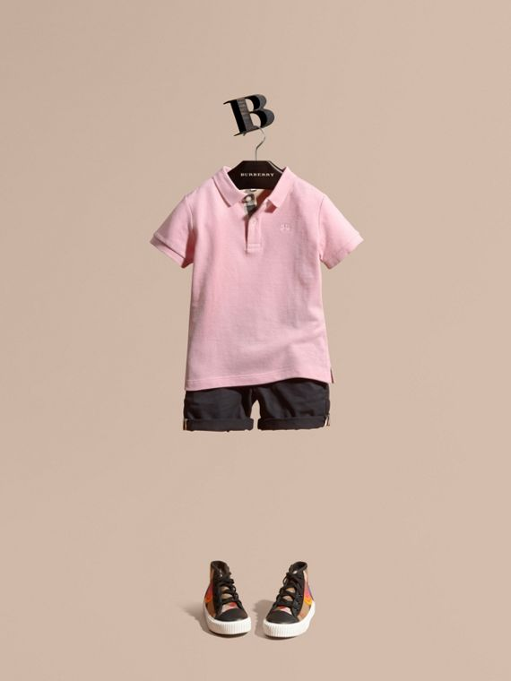 Check Placket Polo Shirt Light Pink