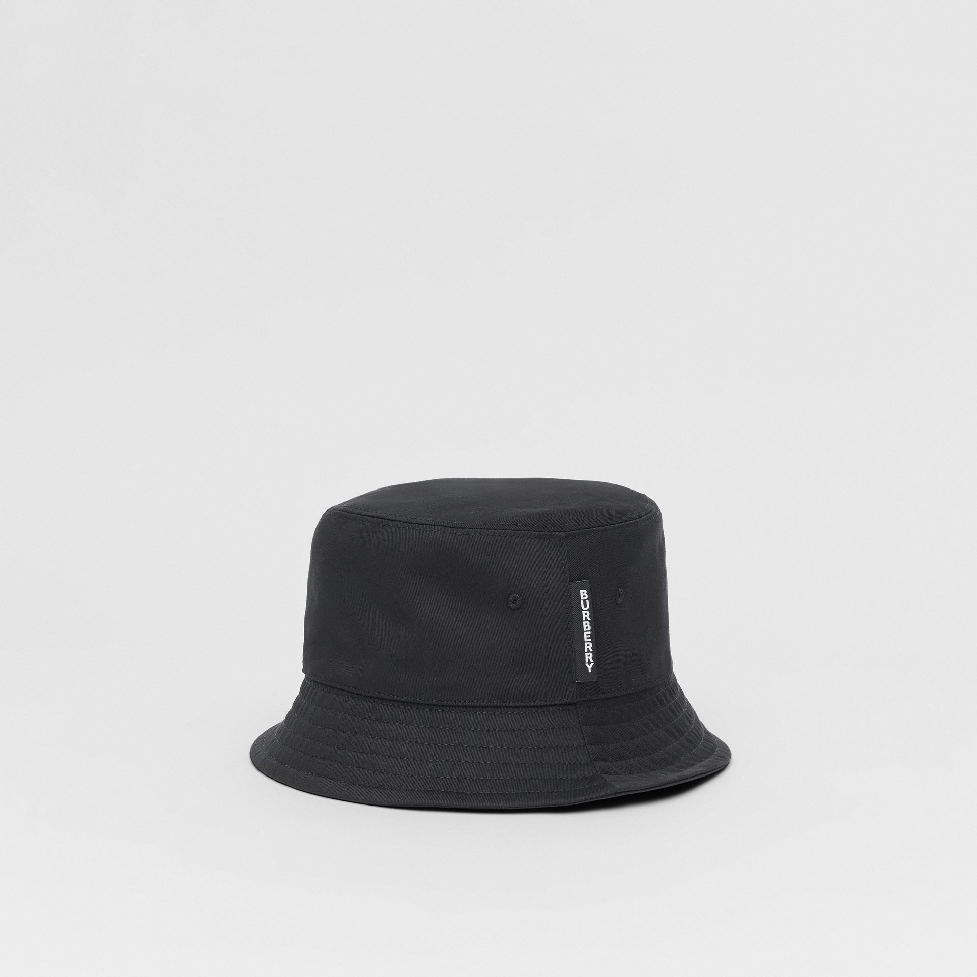 Logo Detail Cotton Twill Bucket Hat in Black | Burberry - gallery image 3
