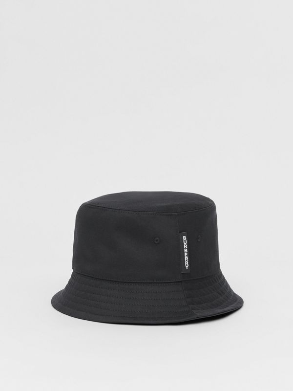 Logo Detail Cotton Twill Bucket Hat in Black | Burberry - cell image 3
