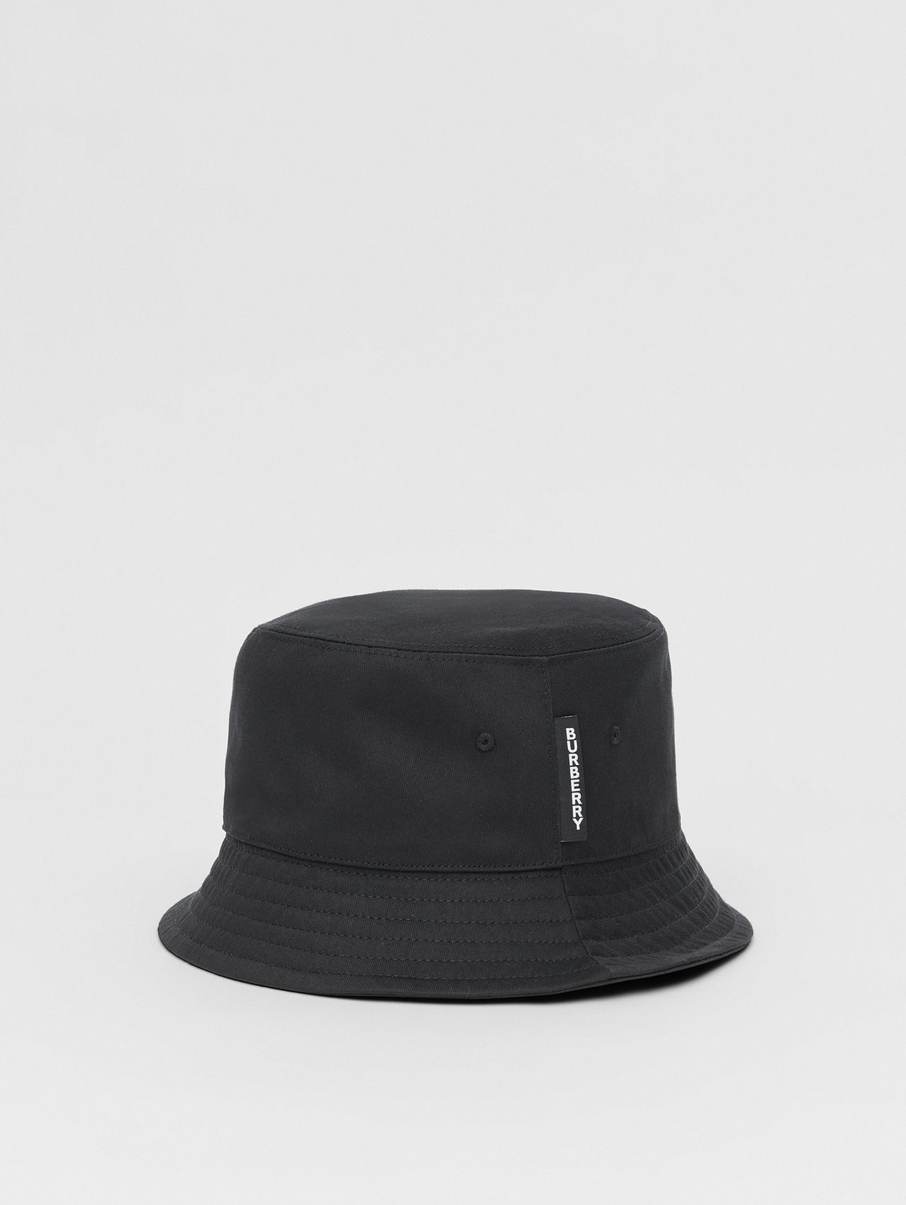 Logo Detail Cotton Twill Bucket Hat in Black
