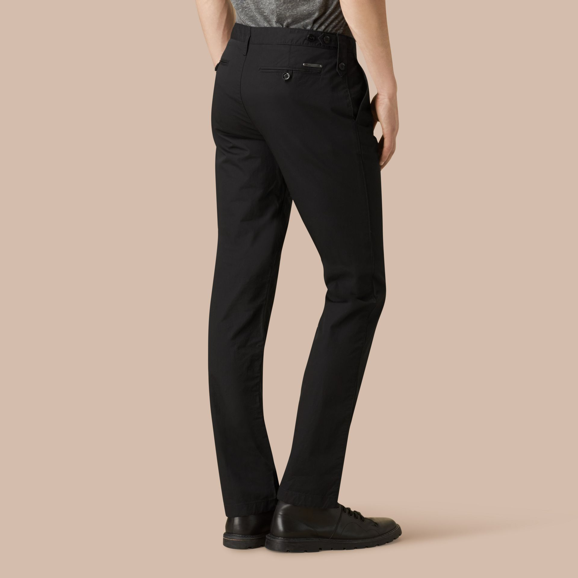 Black Straight Fit Cotton Chinos Black - gallery image 3