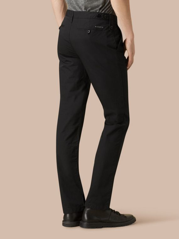 Black Straight Fit Cotton Chinos Black - cell image 2