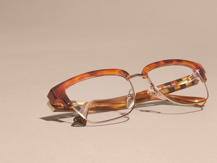 Half-rimmed Oval Optical Frames Light Russet Brown - cell image 4