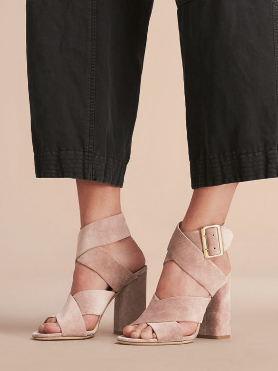 Buckle Detail Suede Crossover Strap Sandals in Ivory Pink - Women | Burberry - cell image 2