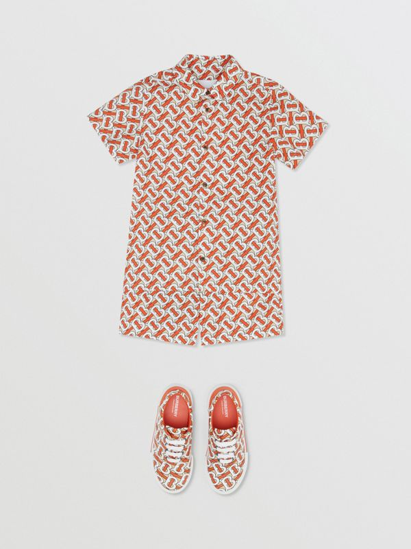 Monogram Print Cotton Poplin Shorts in Vermilion Red | Burberry United Kingdom - cell image 2