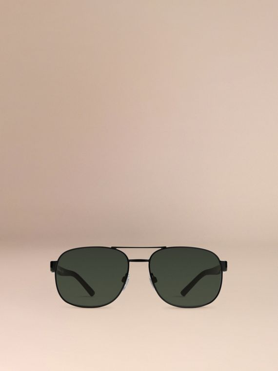 Shiny black Square Frame Aviator Sunglasses Shiny Black - cell image 2