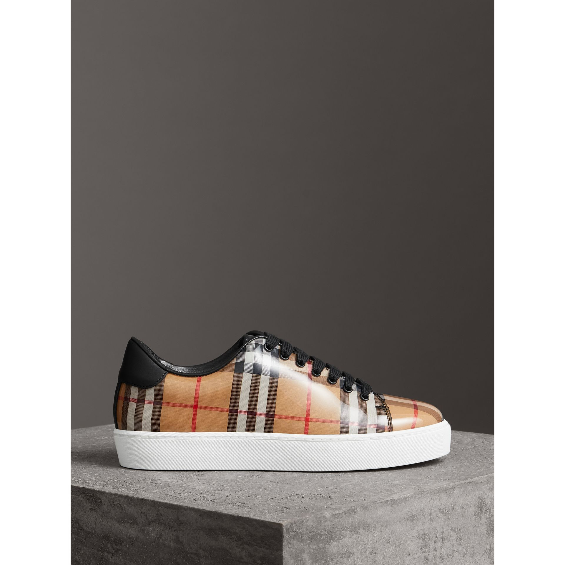 Vintage Check and Leather Sneakers in Antique Yellow - Women | Burberry - gallery image 4