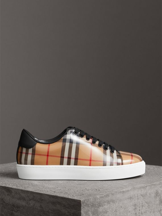 Vintage Check and Leather Sneakers in Antique Yellow - Women | Burberry - cell image 3