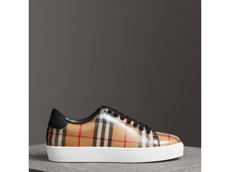 Vintage Check and Leather Sneakers in Antique Yellow - Women | Burberry - cell image 4
