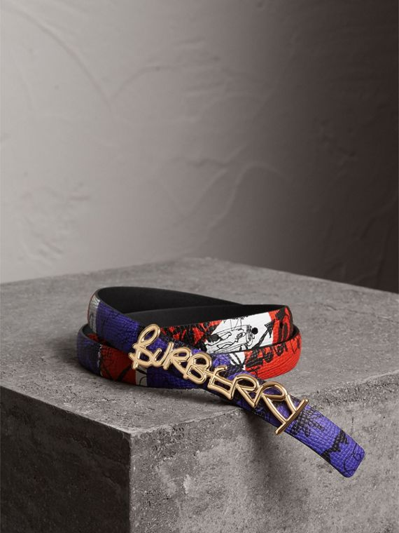 Doodle Detail Reversible Leather Belt in Red/blue