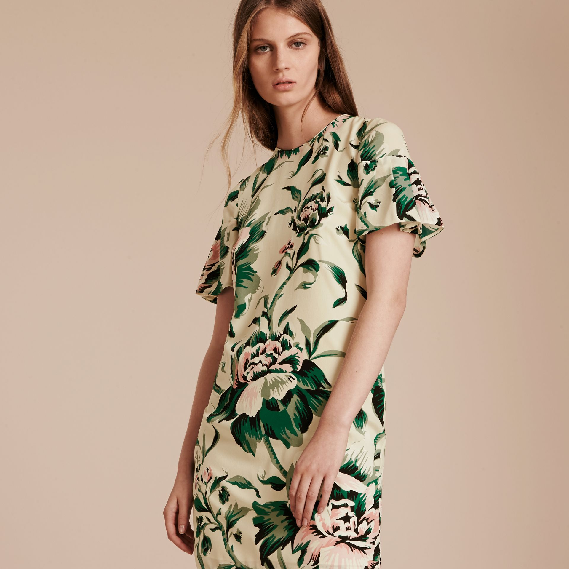 Emerald green Peony Rose Silk Shift Dress with Ruffle Sleeves Emerald Green - gallery image 6