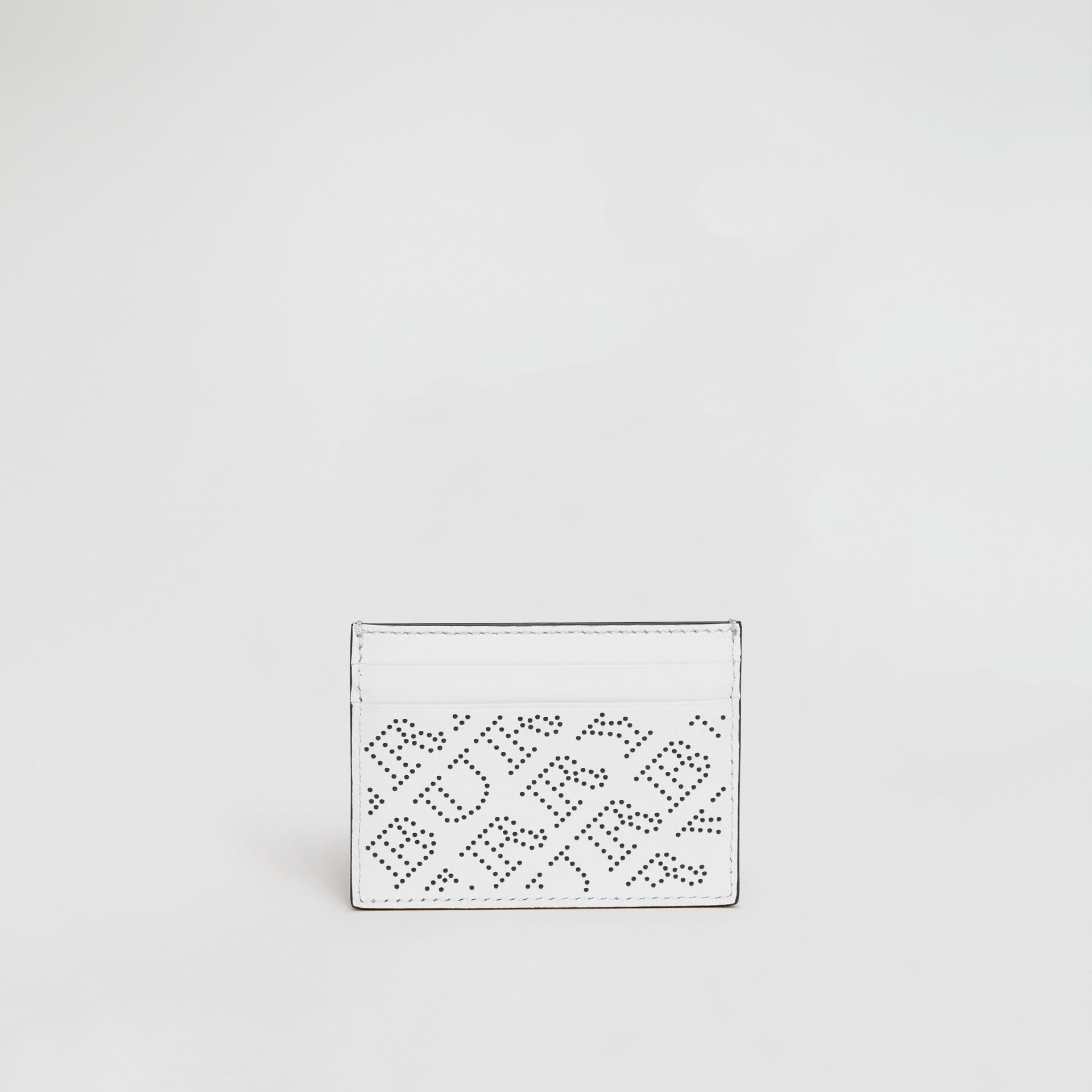 Perforated Logo Leather Card Case in White - Women | Burberry United States - gallery image 5