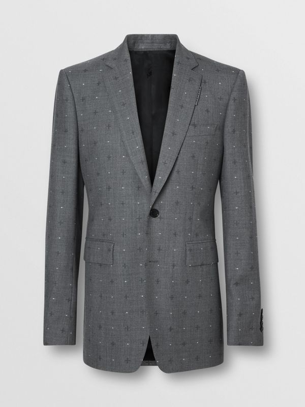 English Fit Fil Coupé Wool Cotton Tailored Jacket in Mid Grey Melange - Men | Burberry - cell image 3