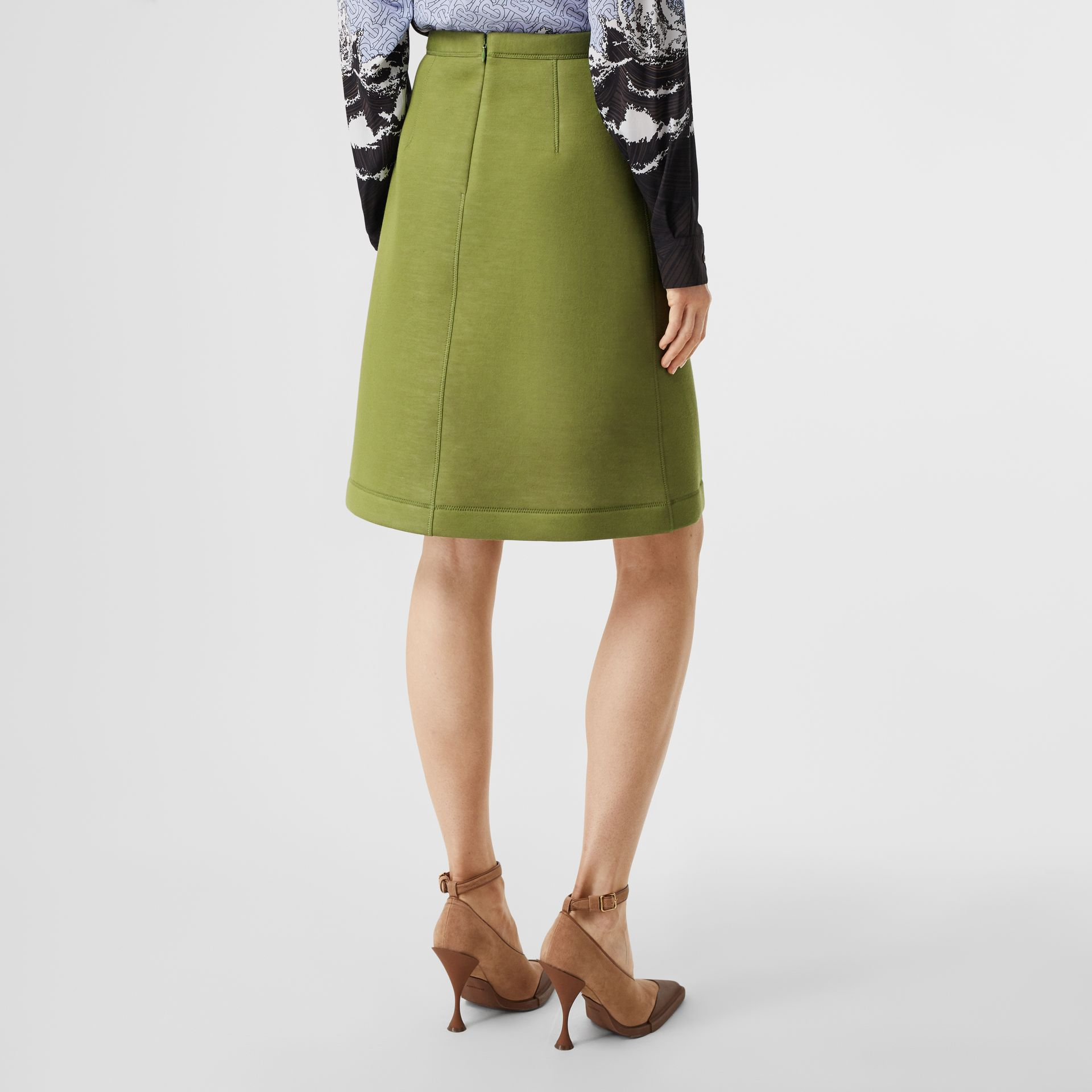 Double-faced Neoprene Skirt in Cedar Green - Women | Burberry - gallery image 2