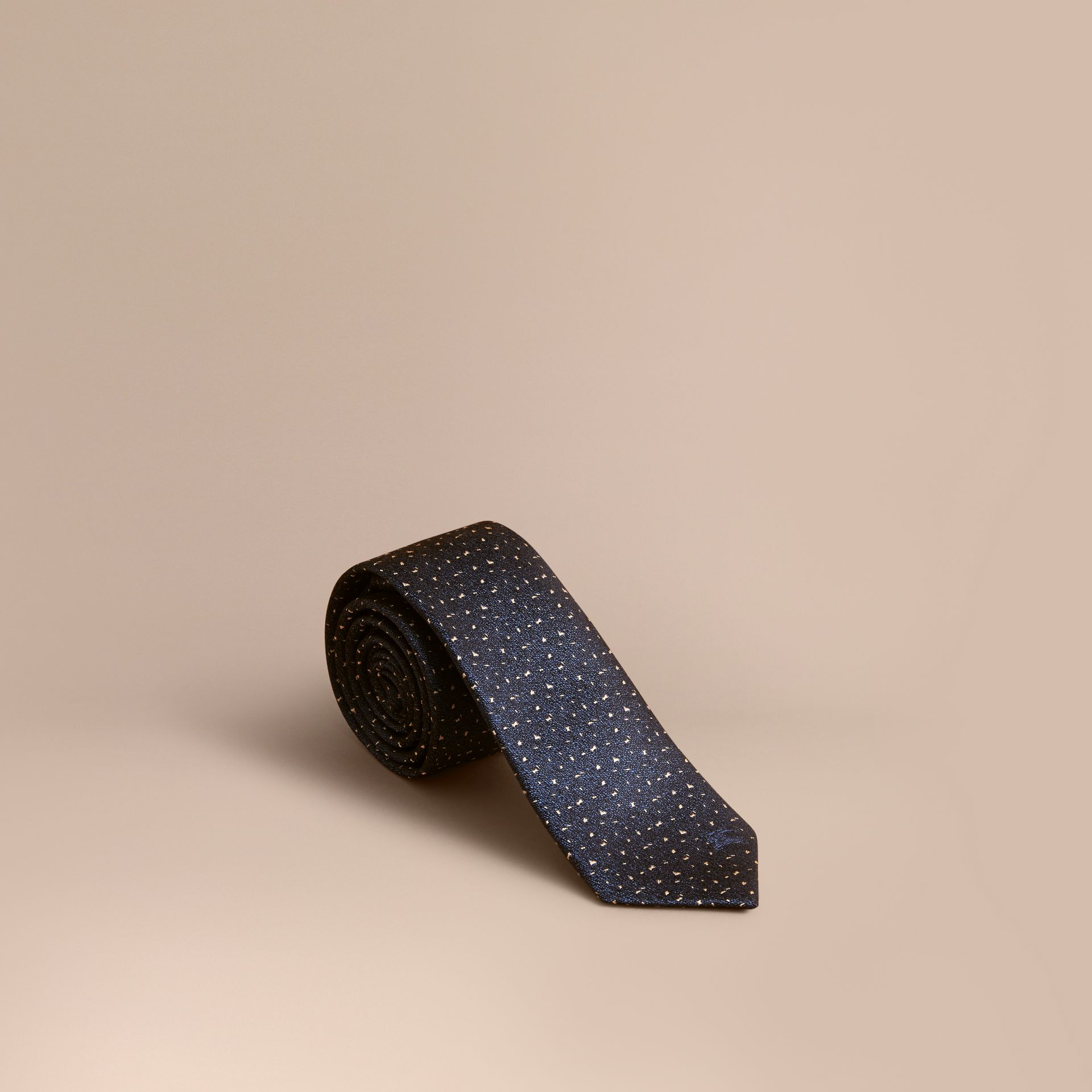 Slim Cut Flecked Silk Tie in Dark Lapis Blue - Men | Burberry Canada - gallery image 1