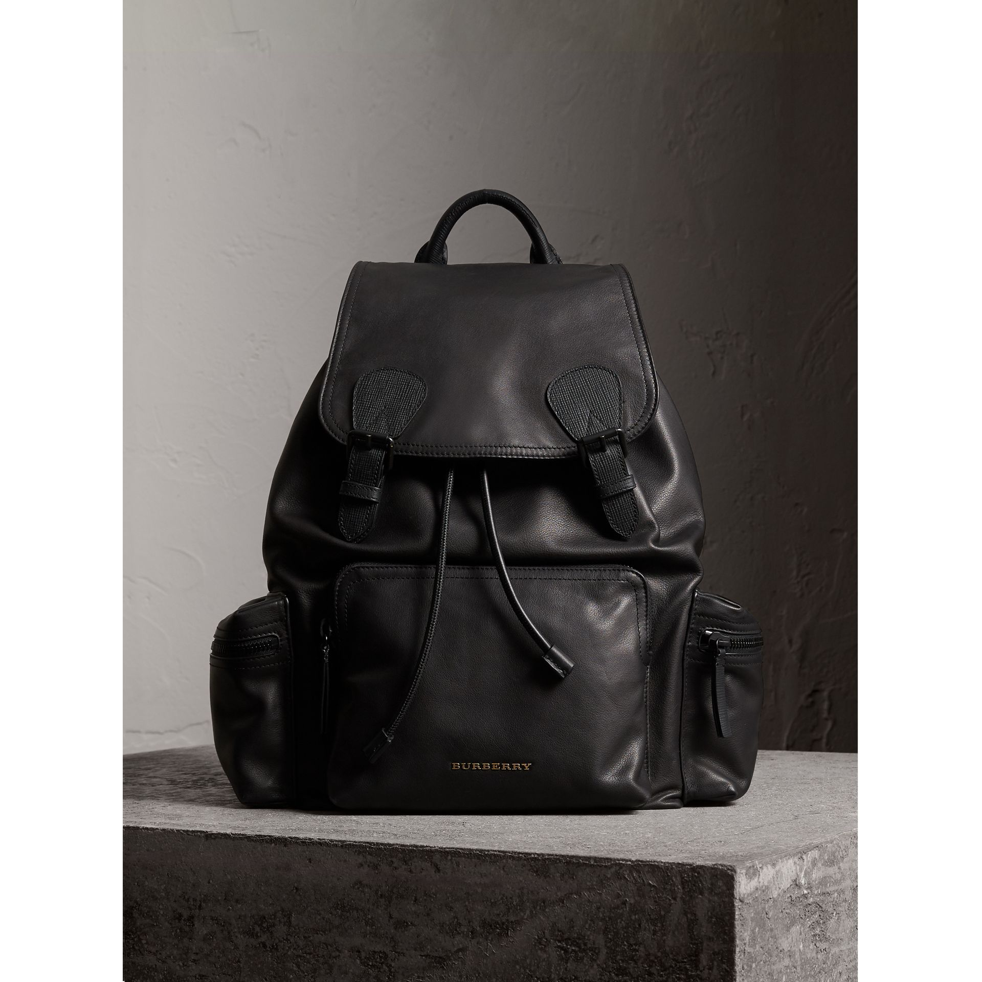 The Large Rucksack in Water-repellent Leather in Black - Men | Burberry - gallery image 7