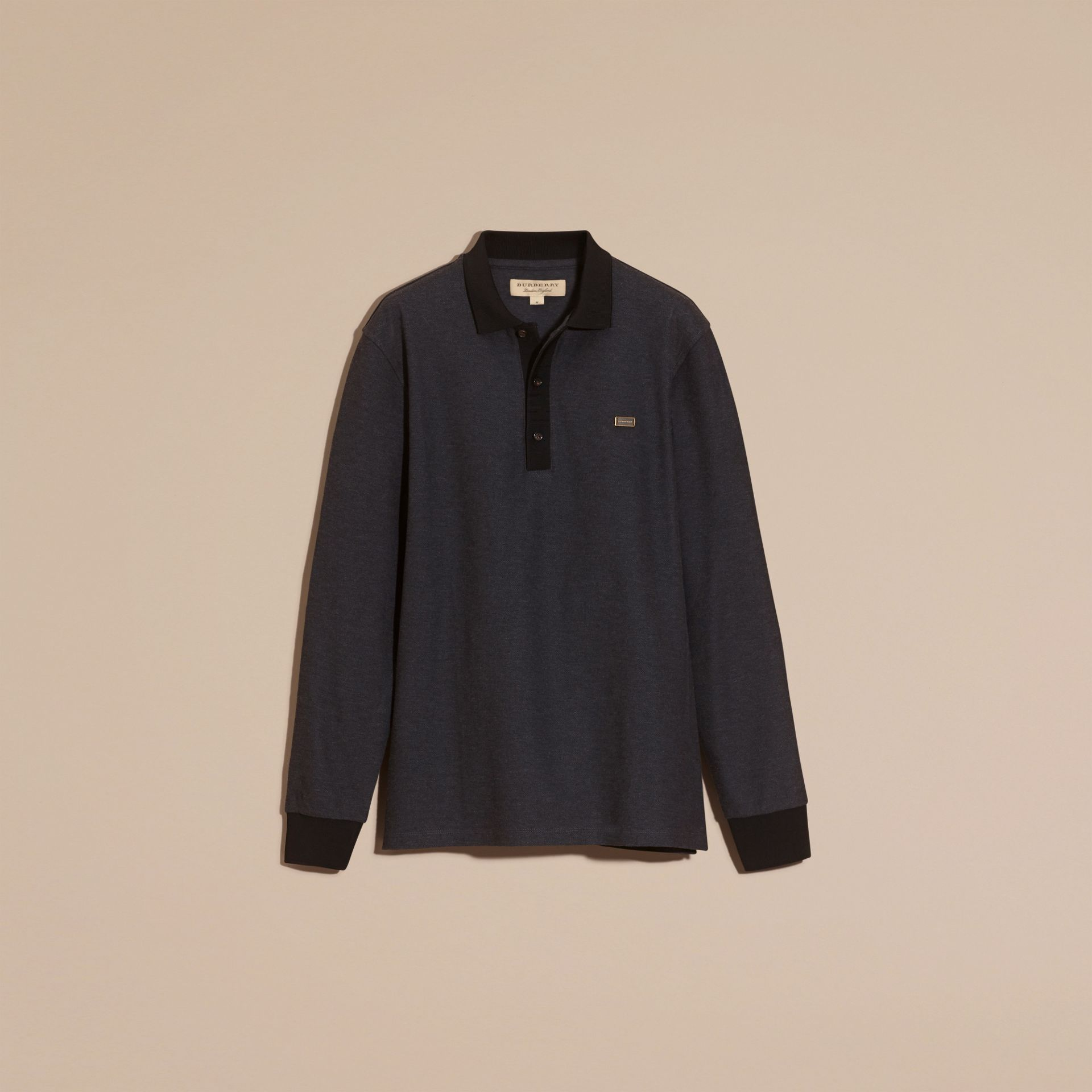 Anthracite/noir Polo en piqué de coton à manches longues Anthracite/noir - photo de la galerie 4