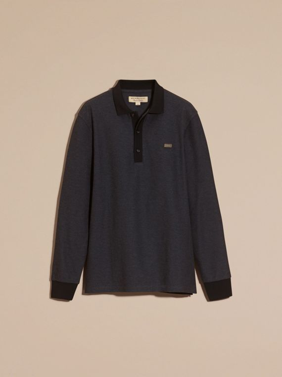 Charcoal/black Long-sleeved Cotton Piqué Polo Shirt Charcoal/black - cell image 3