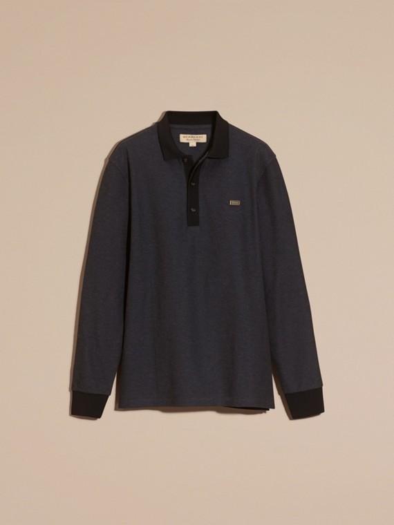 Anthracite/noir Polo en piqué de coton à manches longues Anthracite/noir - cell image 3