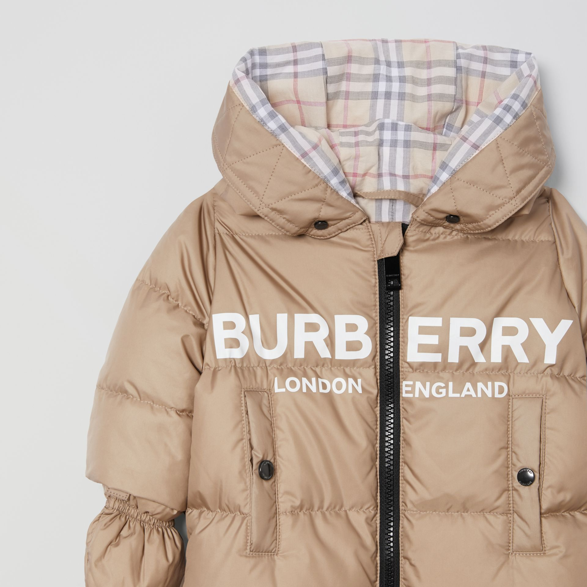Logo Print Down-filled Puffer Suit in Walnut - Children | Burberry - gallery image 4