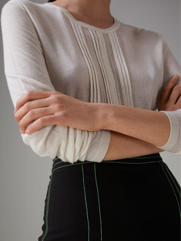 Pintuck Detail Cashmere Sweater in Natural White - Women | Burberry United Kingdom - cell image 1