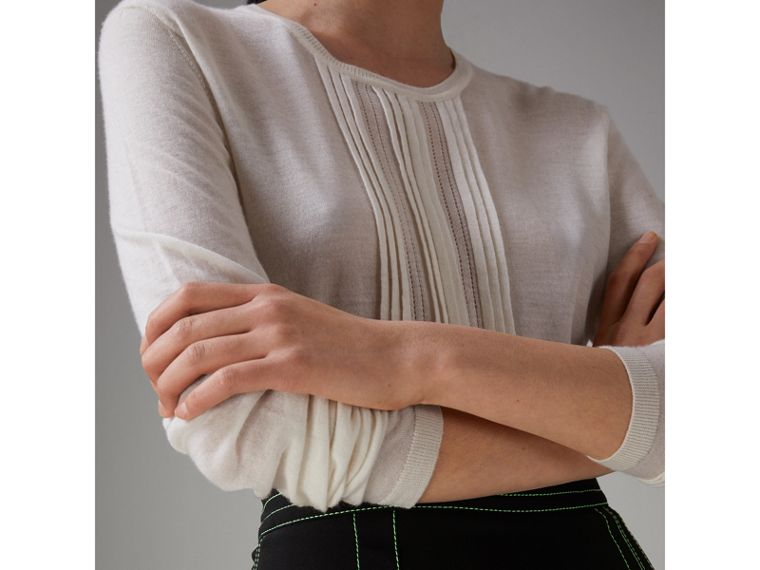 Pintuck Detail Cashmere Sweater in Natural White - Women | Burberry - cell image 1
