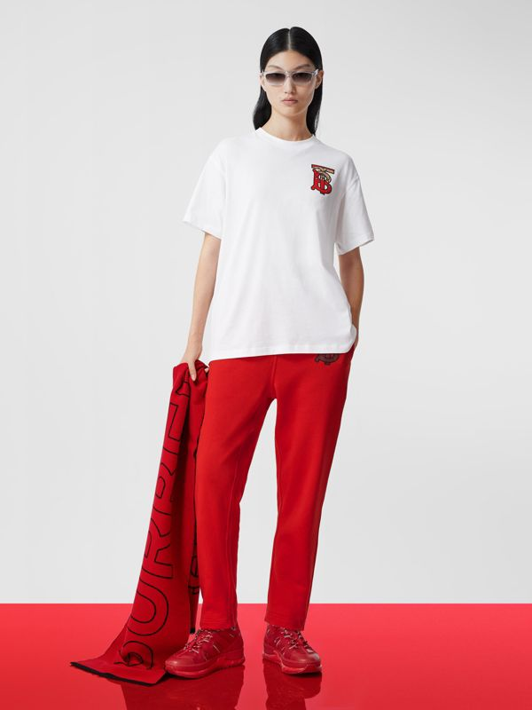 Nylon and Leather Union Sneakers in Bright Red - Women   Burberry - cell image 3