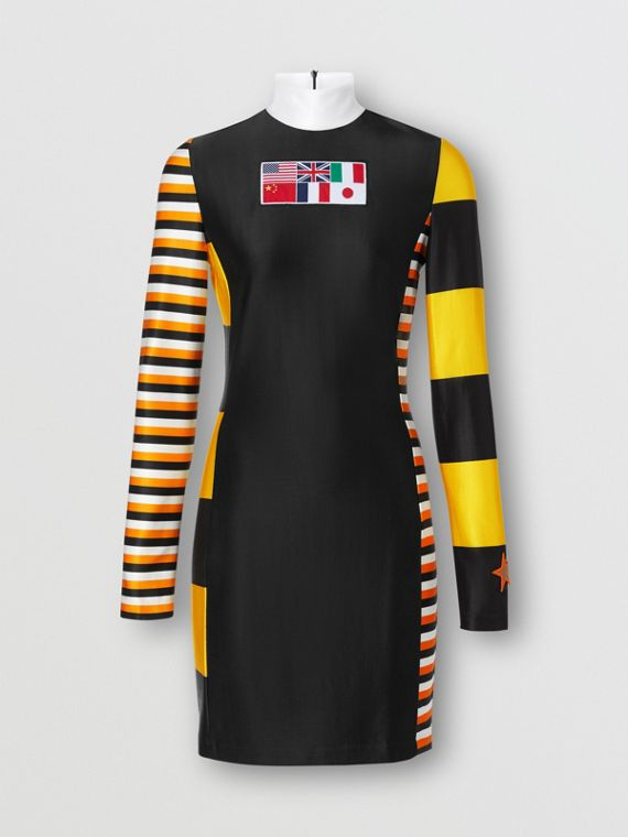 Flag Appliqué Striped Stretch Jersey Mini Dress in Black