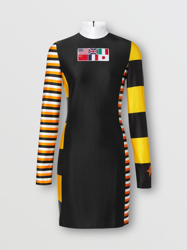 Flag Appliqué Striped Stretch Jersey Mini Dress in Black - Women | Burberry - cell image 2