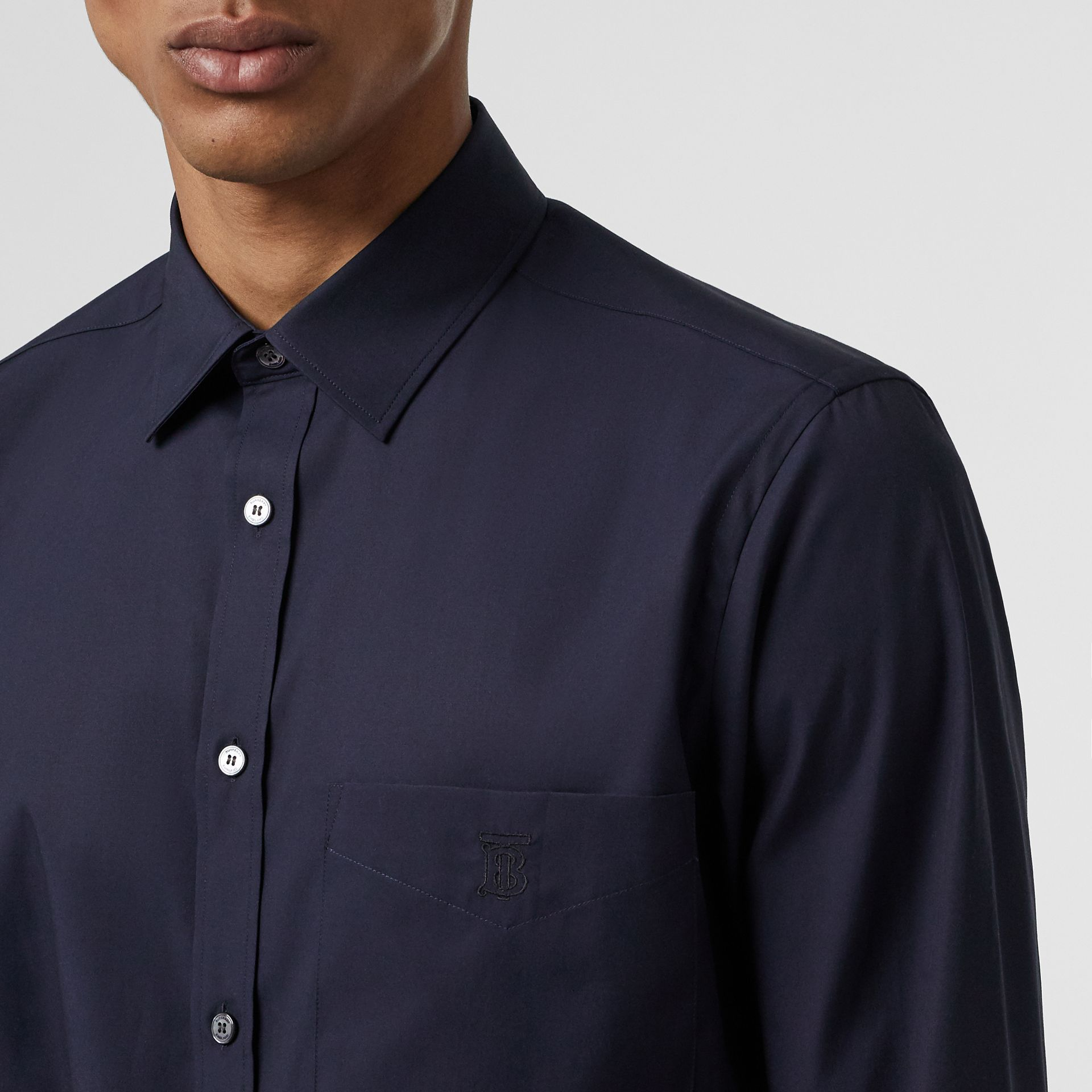 Monogram Motif Stretch Cotton Poplin Shirt in Navy - Men | Burberry - gallery image 1