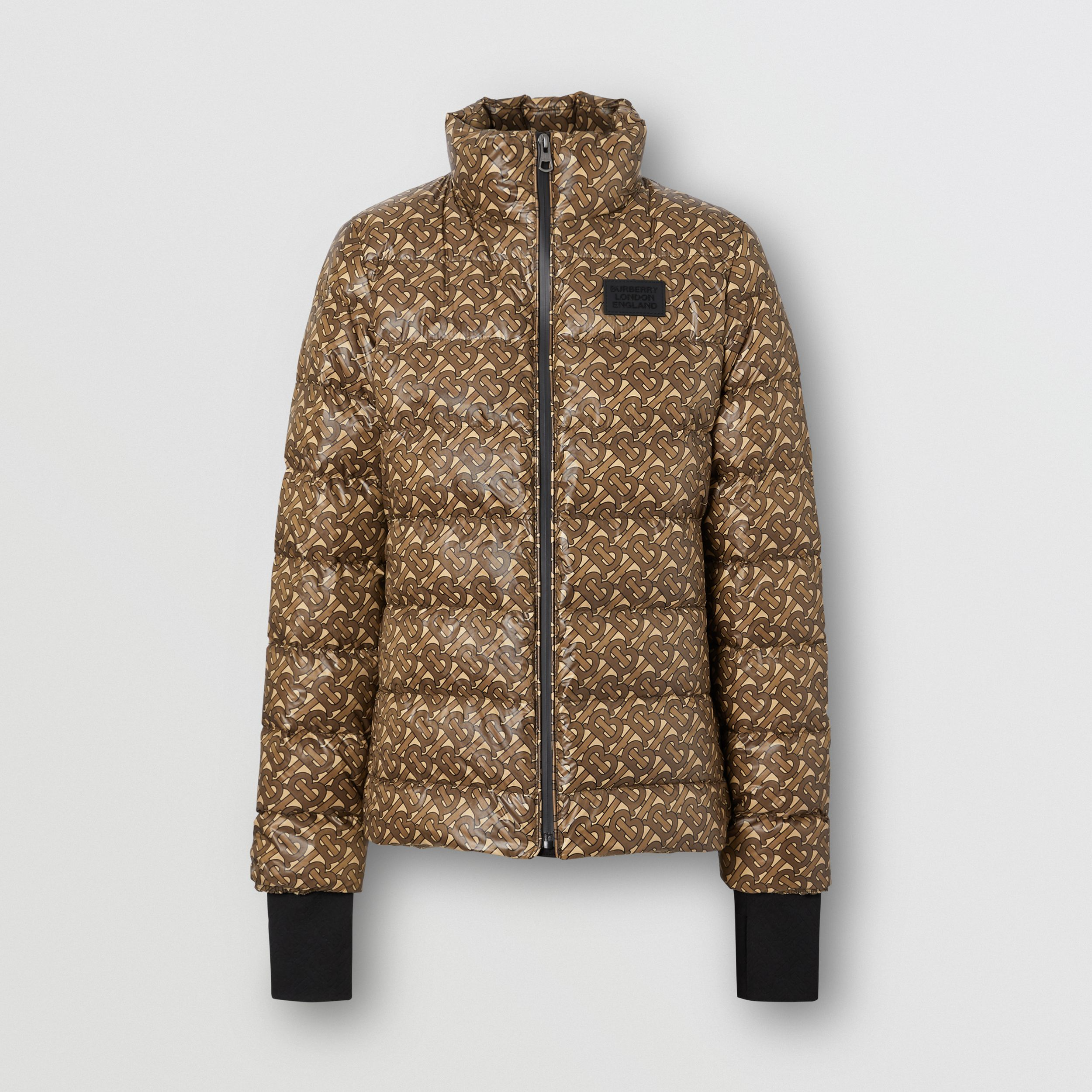 Monogram Print Nylon Puffer Jacket in Bridle Brown - Women | Burberry - 4