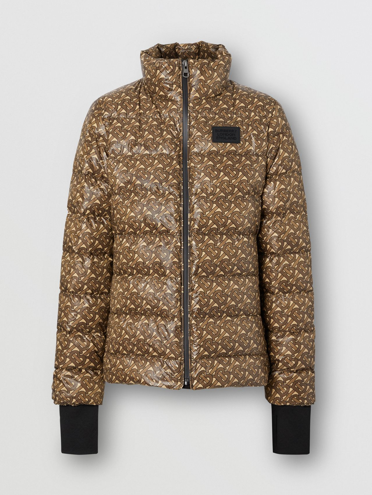 Monogram Print Nylon Puffer Jacket in Bridle Brown