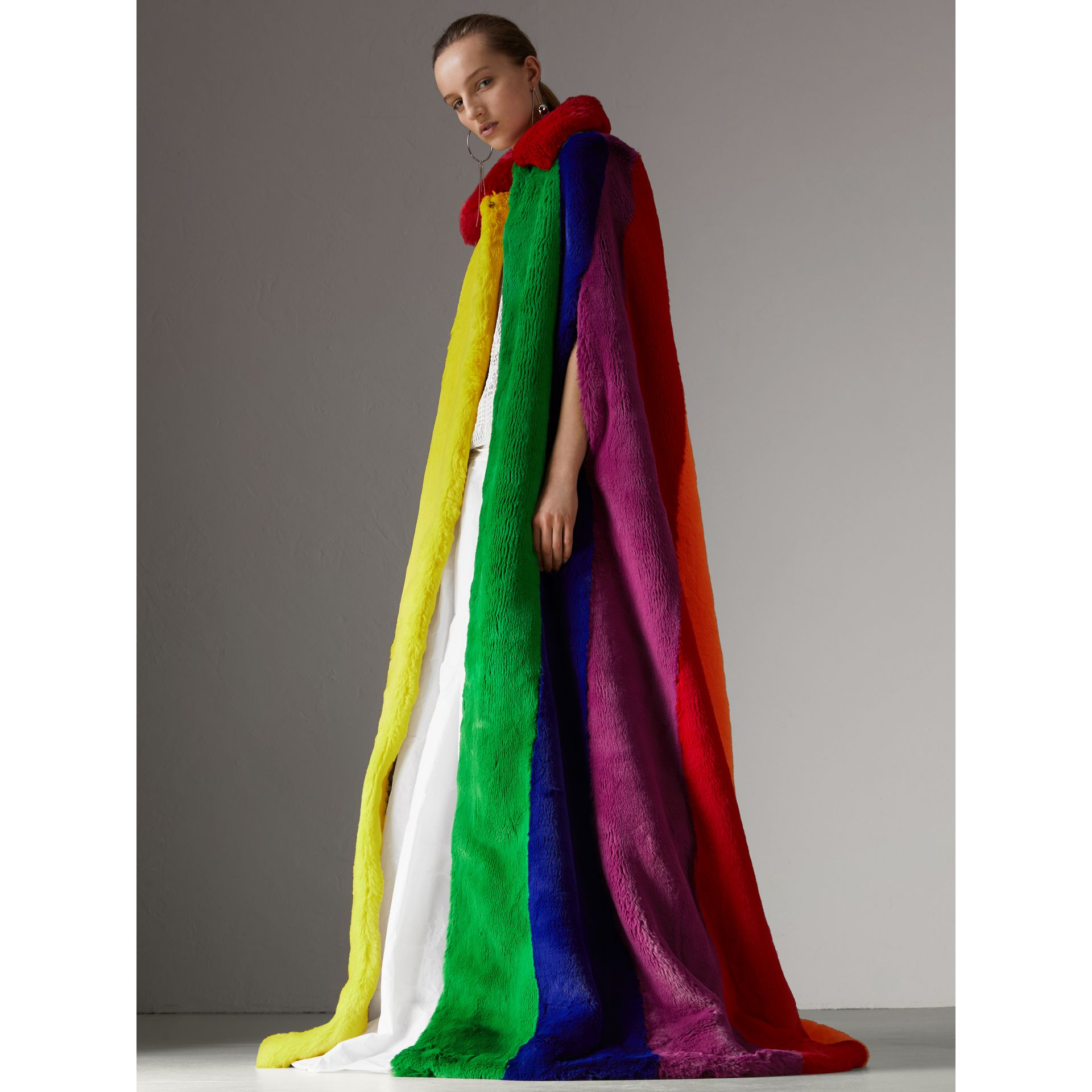 Rainbow Faux Fur Cape - Women | Burberry Canada - gallery image 5