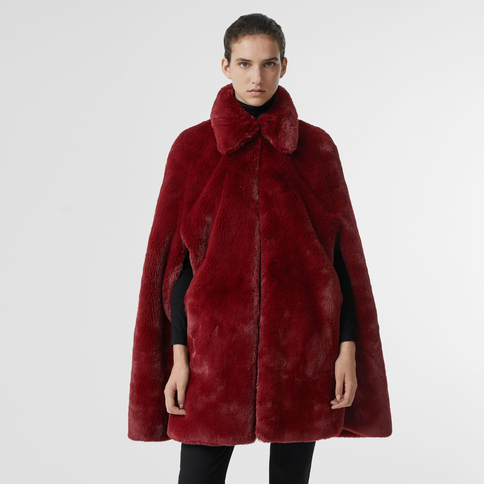 Faux Fur Cape in Burgundy - Women | Burberry - gallery image 4