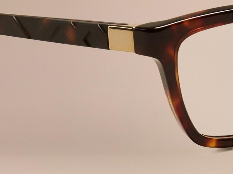 Écaille de tortue Monture œil de chat pour lunettes de vue à motif check Écaille  Tortue - cell image 4