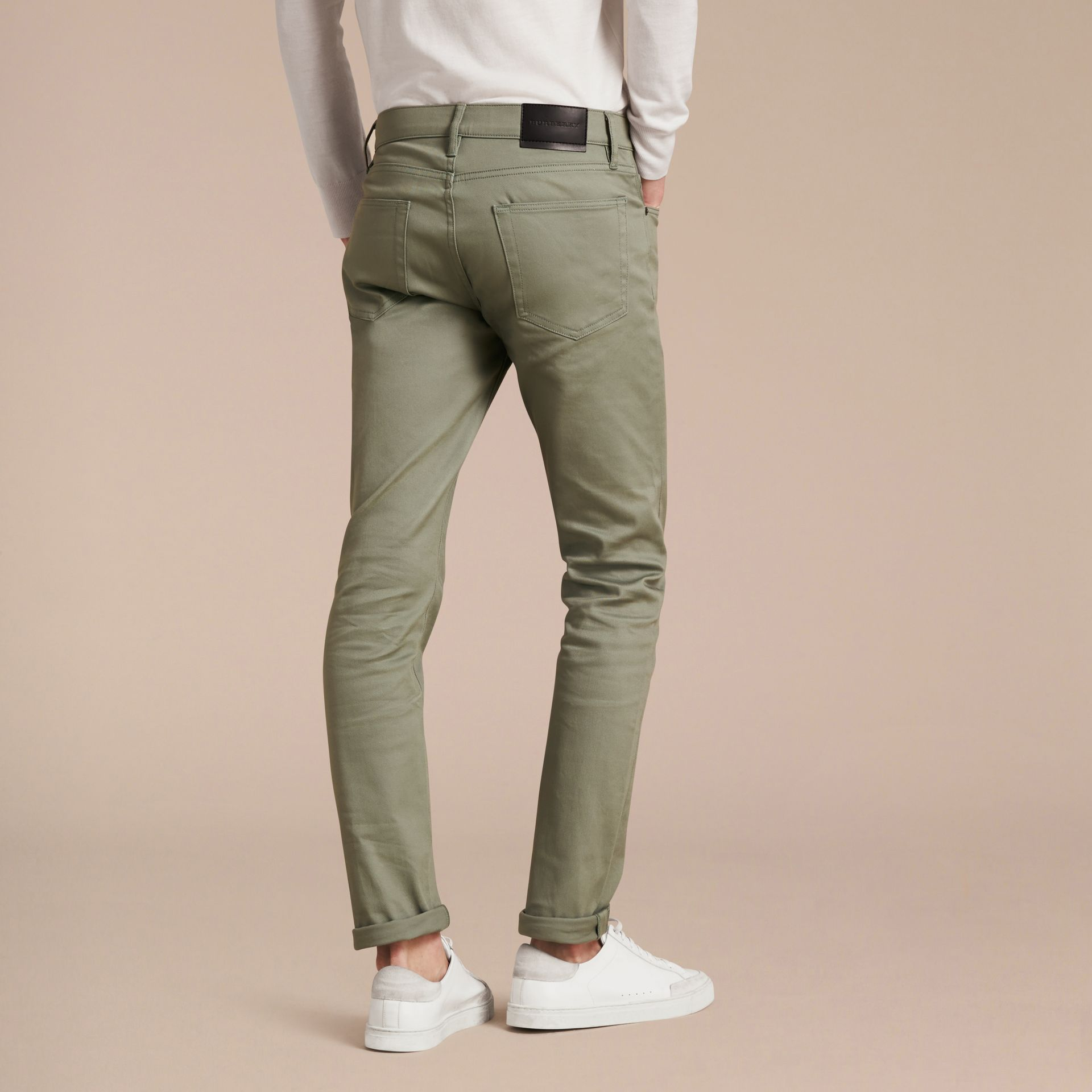 Eucalyptus green Slim Fit Japanese Stretch Denim Jeans Eucalyptus Green - gallery image 3