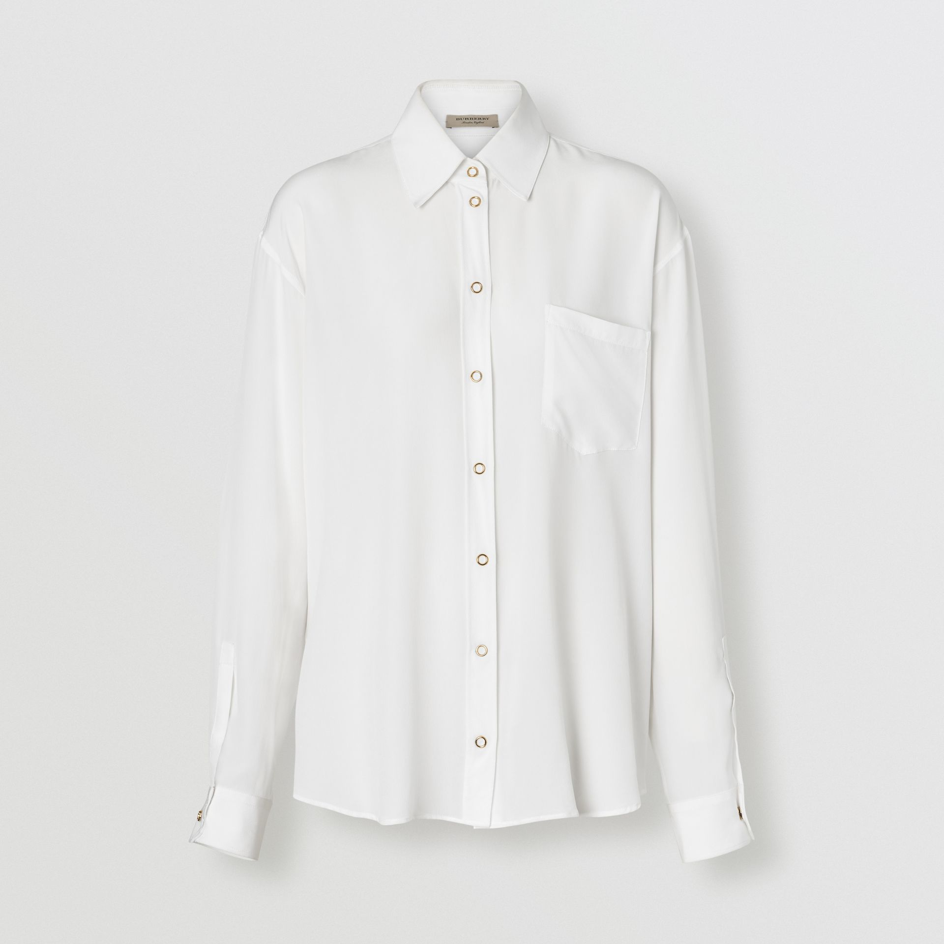 Press-stud Silk Crepe De Chine Shirt in White - Women | Burberry - gallery image 3
