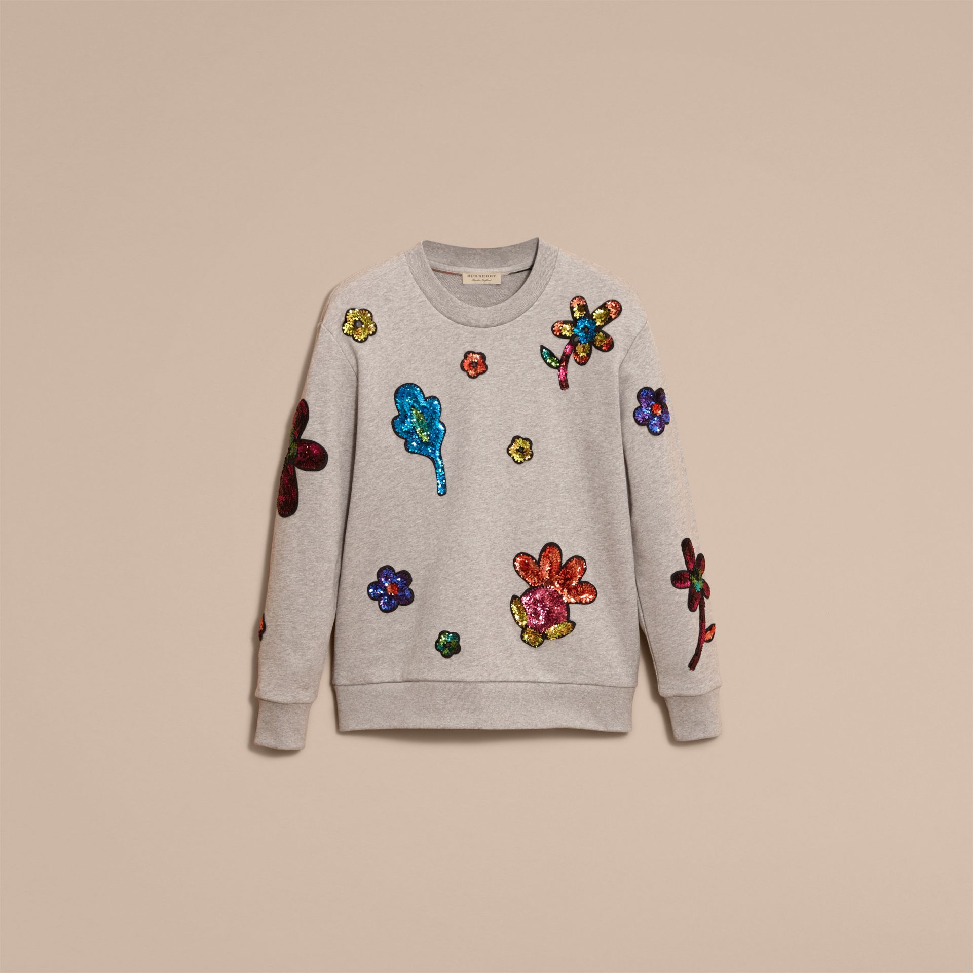 Pale grey melange Sequin Floral Appliqué Cotton Sweatshirt Pale Grey Melange - gallery image 4