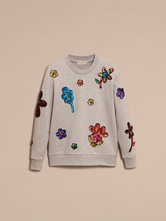 Pale grey melange Sequin Floral Appliqué Cotton Sweatshirt Pale Grey Melange - cell image 3