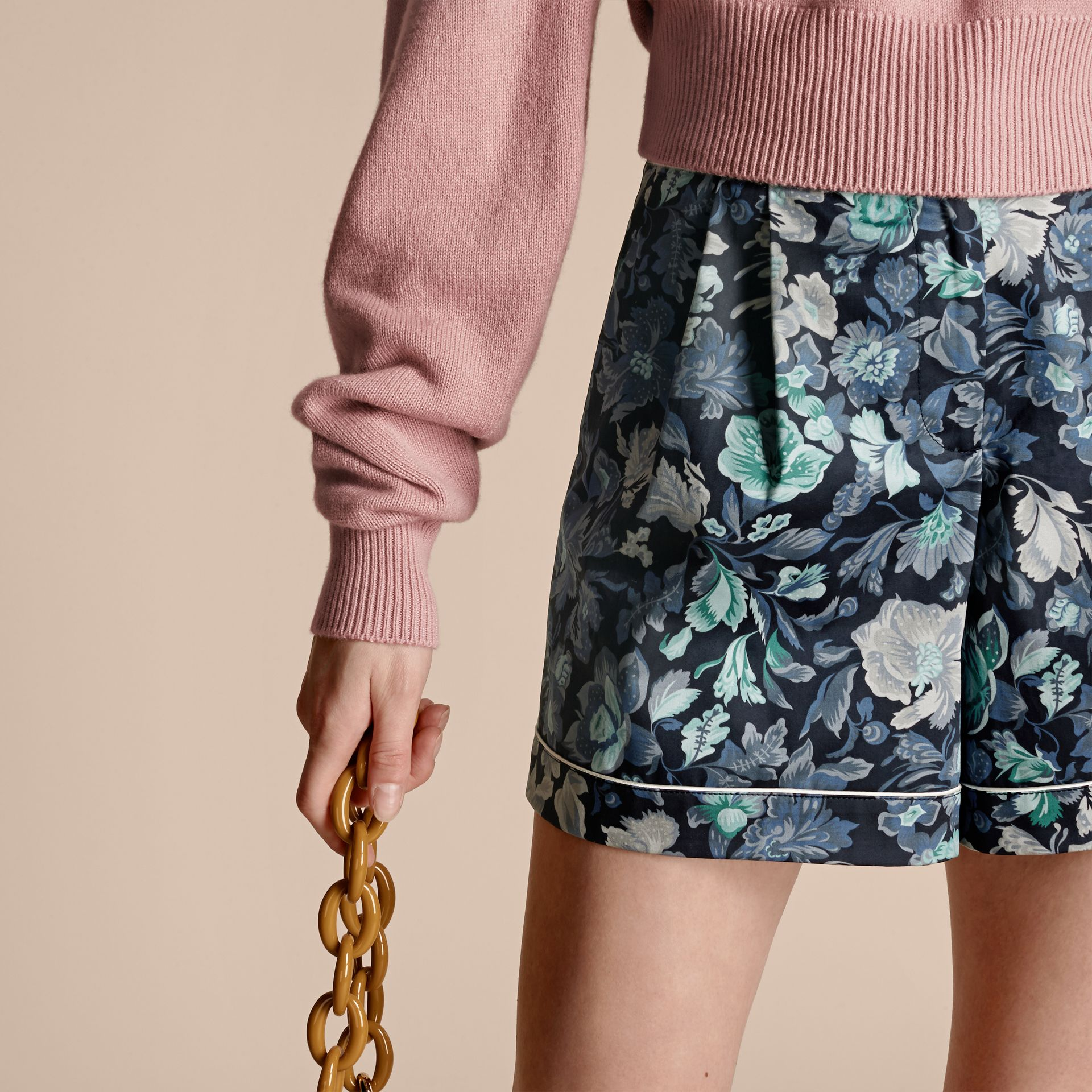 Navy Floral Print Cotton Pyjama-style Shorts - gallery image 5