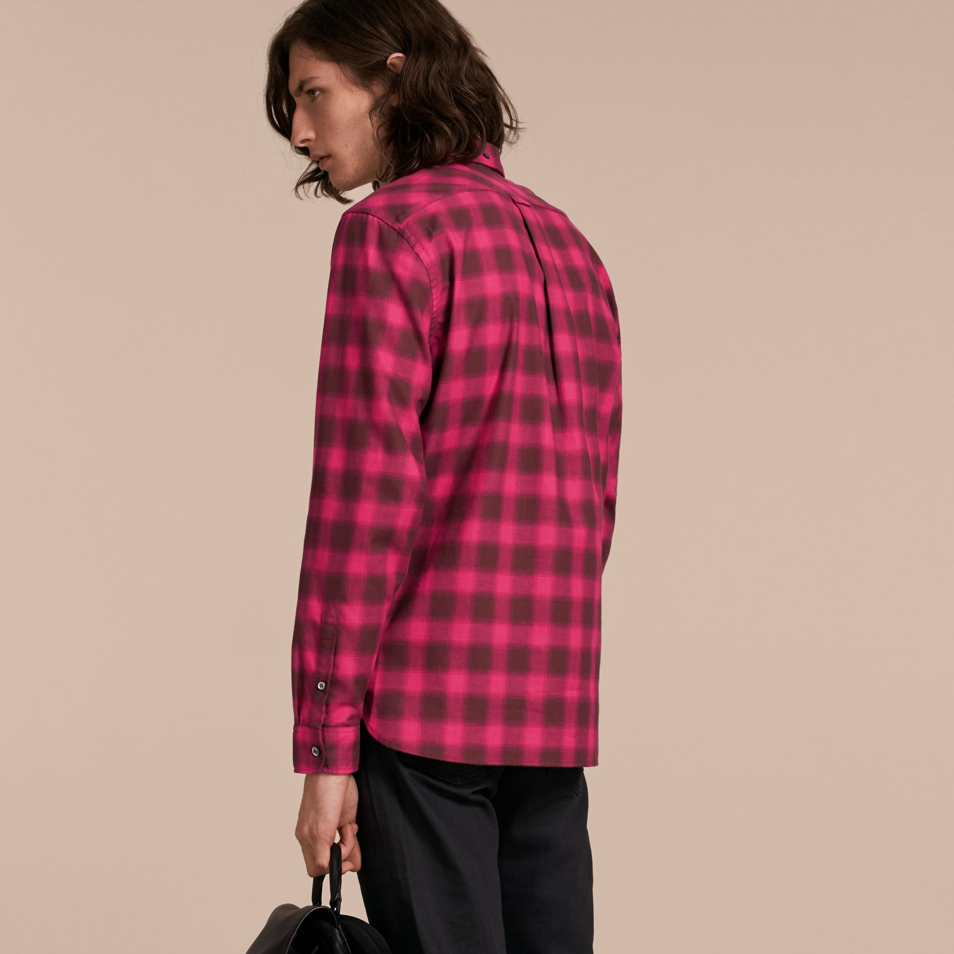 Bright rose Gingham Check Cotton Shirt Bright Rose - gallery image 3