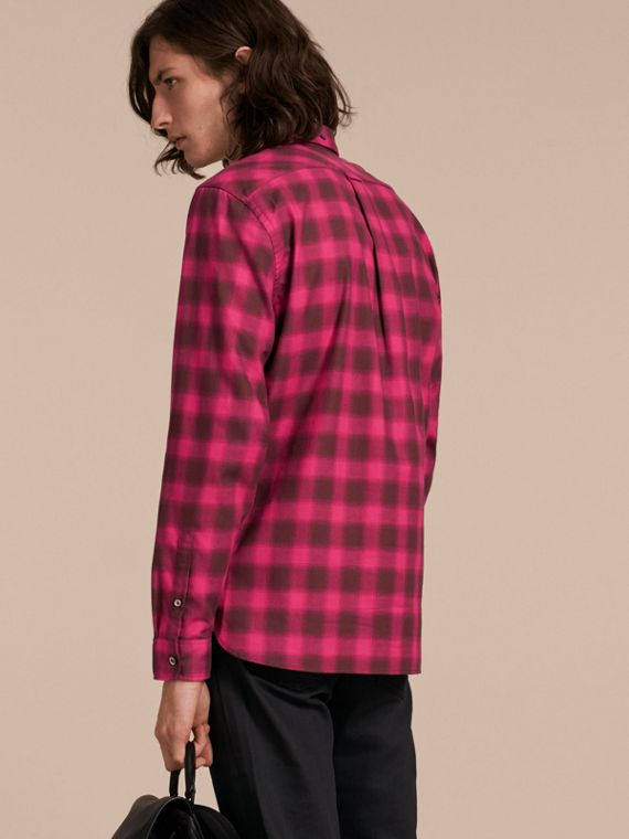 Bright rose Gingham Check Cotton Shirt Bright Rose - cell image 2