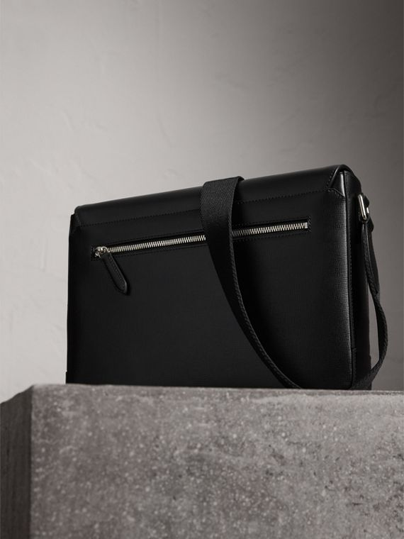 Medium London Leather Messenger Bag in Black - Men | Burberry - cell image 3