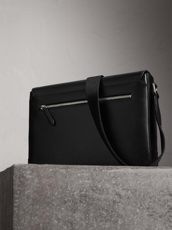 Medium London Leather Messenger Bag in Black - Men | Burberry United Kingdom - cell image 3